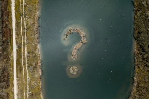 question mark in water
